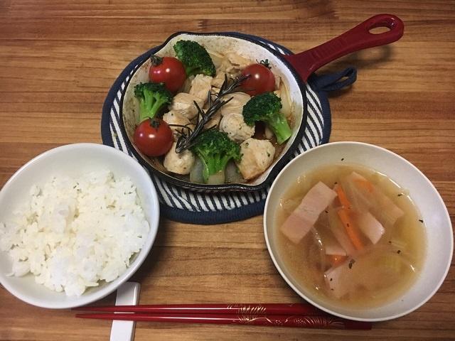 焼くだけで簡単♪グリルチキンと野菜のスープ