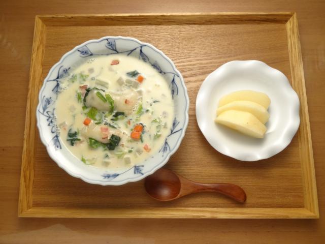 簡単!ヘルシー!!餅入りあっさり豆乳スープ