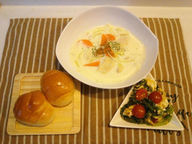 野菜とエリンギの旨みが効いたチキンのミルク煮♪