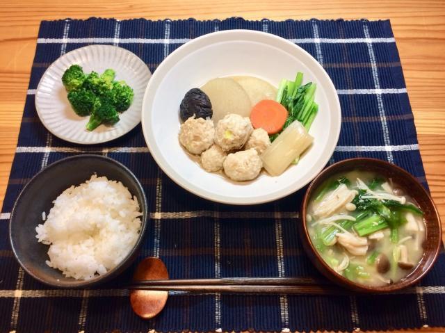 豆腐でヘルシー鶏団子と大根の煮物