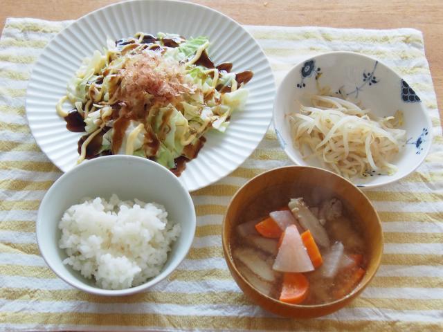 レンジで簡単調理♪お好み焼き風定食
