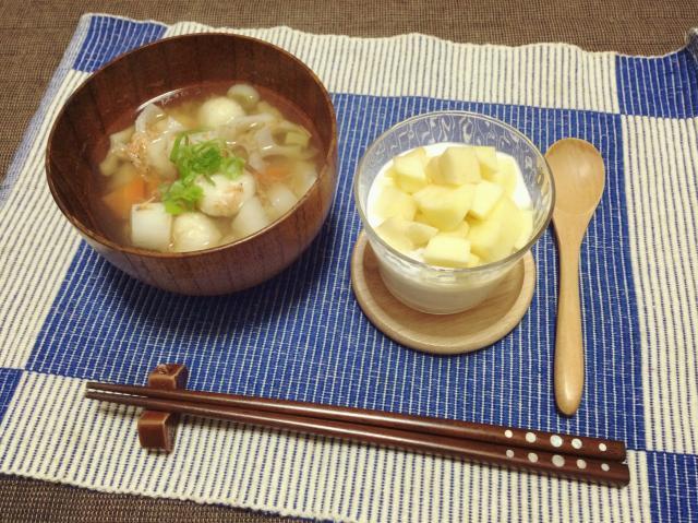 ホッとあったか♪豆腐を混ぜた白玉の汁物